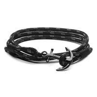 Tom hope triple black tm0130 gioiello unisex bracciale corda