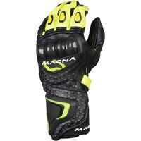Macna guanti moto pelle estivi racing Macna track r con fibra aramidica nero grigio giallo