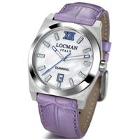 Locman stealth / orologio donna / quadrante madreperla bianca e diamanti / cassa acciaio e titanio / cinturino pelle viola