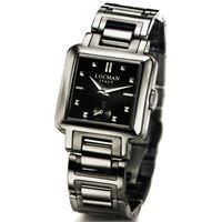 Locman quadro / orologio donna / quadrante nero / cassa e bracciale acciaio