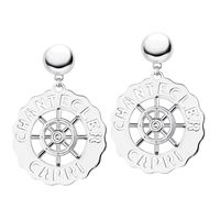 Chantecler / logo / orecchini grandi timone / argento