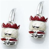 Chantecler / amori reali / orecchini campanella re / argento, smalto e diamante