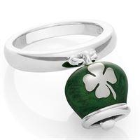 Chantecler / et voilà / anello campanella double face / argento e smalto verde perlato, con quadrifoglio sul retro