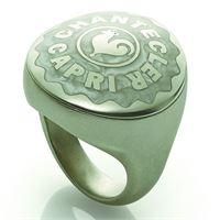 Chantecler / et voilà / anello chevalier grande / argento, smalto bianco perlato e gambo satinato