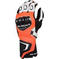 Macna guanti moto pelle estivi racing Macna track r con fibra aramidica rosso nero bianco