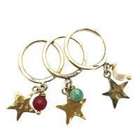 Set tre anelli majo con ciondoli stella e pietre dure