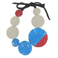 Collana girocollo flow-ers pastiglie azzurro+ rosso fatta a mano