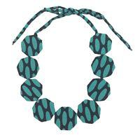 Collana girocollo flow-ers pastiglie in seta ottagonali colore turchese+ nero