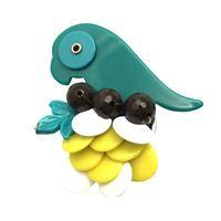 Spilla marina fossati pappagallo resina verde smeraldo+giallo