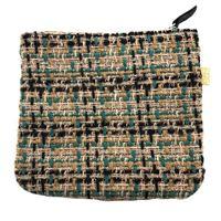 Pochette a bustina sud in tweed di lana rosa cipria e verde smeraldo