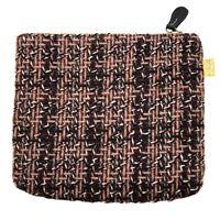 Pochette a bustina sud in tweed di lana nero, rosa e rosso