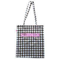 Shopping bag sud in cotone quadretti vichy marrone e bianco con scritta glitter rosa summer