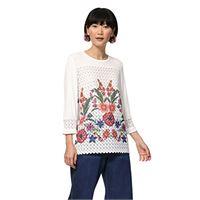 Desigual brenda maglietta con maniche 3/4, bianco (egret 1031), l donna