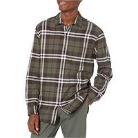 Amazon Essentials camicia regular in flanella a manica lunga uomo, marrone (brown plaid), x-small