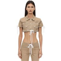 COURREGES giacca cropped in cotone con borchie