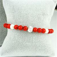 Bracciale argento 925 perle bianche corallo bamboo | pearl rouge