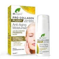 Dr. organic crema pro collagen plus con probiotici e proteine del latte 50 ml