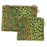 Set di due bustine sud in seta cruda con fantasia optical verde e giallo