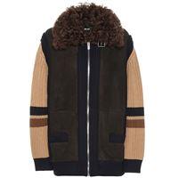 Miu Miu giacca in suede, lana e shearling