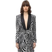 SARA BATTAGLIA blazer in velluto stampa zebra