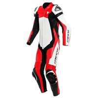 Dainese assen 2 perforated leather 44 white / lava red / black