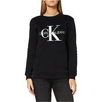 Calvin Klein jeans core monogram logo sweatshirt felpa, nero (ck black 099), medium donna