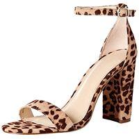 The Drop rebecca, sandali con fasce, con tacco alto a blocco, stampa leopardata, 7 (us) 37. 5 (eu)