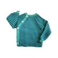 Reiff pullover in lana merino righe verde smeraldo