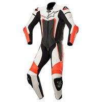 Alpinestars motegi v3 leather 46 black / white / red fluo