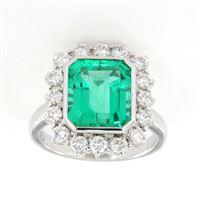 Crivelli anello contorno smeraldo diamanti crivelli
