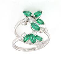 Crivelli anello navette smeraldo diamanti crivelli