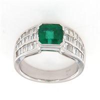 Crivelli anello smeraldo diamanti baguette crivelli