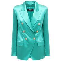 BALMAIN giacca doppiopetto in raso di seta