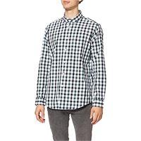 MERAKI regular fit checked shirt camicia uomo, blu (blue combo), 54 (taglia produttore: x-large)