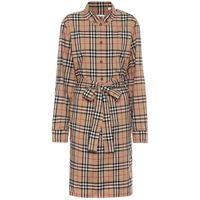 Burberry abito chemisier a quadri in cotone stretch