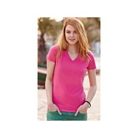 Fruit of the Loom t-shirt donna elasticizzata scollo a v fruit of the loom