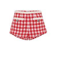 Miu Miu shorts a quadri in tweed di lana
