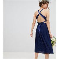 TFNC Petite - vestito da damigella a pieghe con incrocio sul retro e fiocco-blu navy