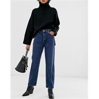 Selected femme - jeans dritti vita alta lavaggio blu