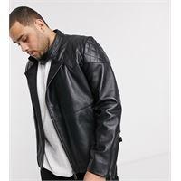 Bolongaro Trevor plus - giacca biker in pelle trapuntata-nero