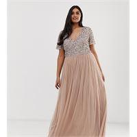 Maya Plus - vestito lungo da damigella in tulle cipria taupe con scollo a v e raffinate paillettes tono su tono-marrone