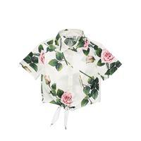 DOLCE & GABBANA camicia in popeline di cotone stampato con fiocco