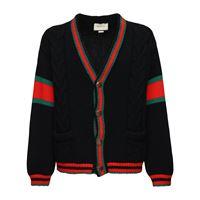 GUCCI cardigan in maglia di lana con dettaglio web