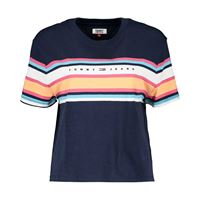 TOMMY JEANS t-shirt crop stripe logo donna