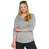 ULLA POPKEN shirt mit knopfleiste, langarm t, hellgrau, 54+ donna