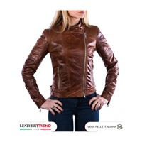 Leather Trend Italy manila - giacca donna in vera pelle colore cuoio oil vintage