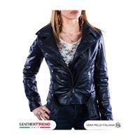 Leather Trend Italy chiodo donna - giacca in vera pelle con cintura colore blu oil vintage