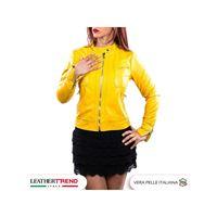 Leather Trend Italy vale - giacca donna in vera pelle colore giallo morbida