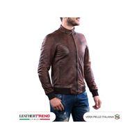 Leather Trend Italy bomber napoli - giacca uomo in vera pelle colore marrone invecchiato