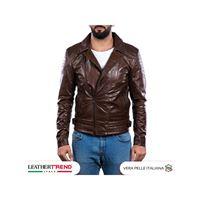 Leather Trend Italy chiodo napoli - giacca uomo in vera pelle colore testa di moro oil